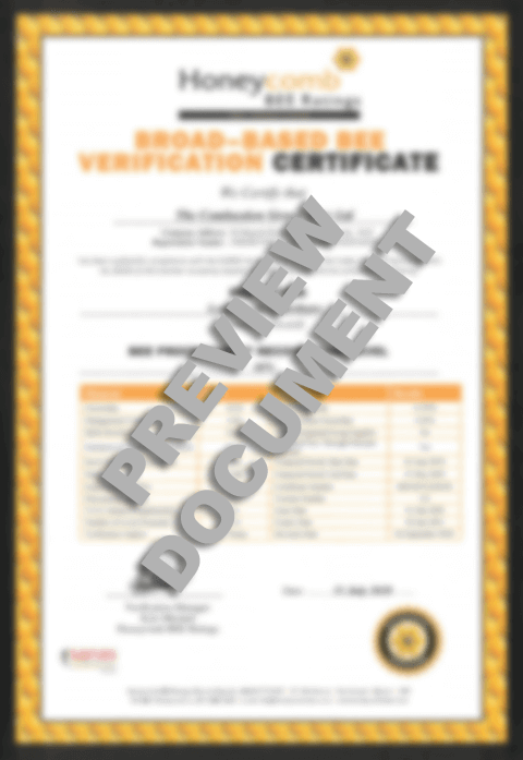 bbbee certificate for the combustion group preview