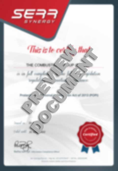 POPI Certificate for the combustion group preview